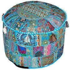 Indian Living Room Pouf, Foot Stool, Round Ottoman Cover Pouf,Traditional Handmade Decorative Patchwork Ottoman Cover,Indian Home Decor Cotton Cushion Ottoman Cover 13x18''By Traditional Indian (Vanity Round 18' Stool)