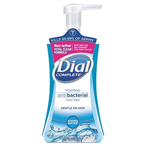 Dial Corporation Foaming Soap Dispenser - Dial Complete Foaming Antibacterial Hand Soap, 7.5 Oz, Springwater/Blue