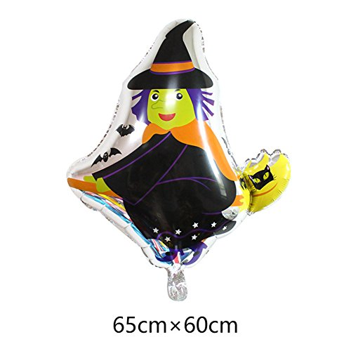 Zehui Creative Witch Shape Halloween Balloon for Kids Play Aluminum Film Christmas Halloween Decoration Balloons (90s Halloween Films)