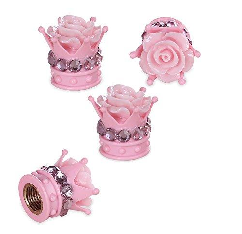 Crown Valve Caps - Mini-Factory Bling Pink Car Accessories Wheel Decoration Crystal Tire Valve Stem Caps - Floral Crown