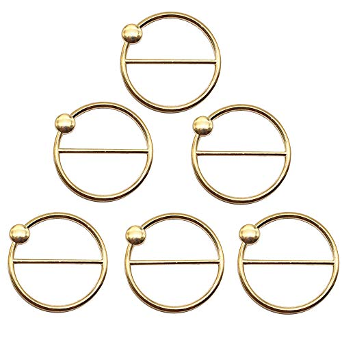 (ZHU YU CHUN 6 Pcs Round Fashion Scarf Ring Buckle, Metal T Shirt Clip Ring (Gold))