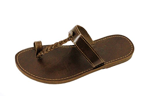 Ciffre Womens and Mens Real Leather Sandal Jesus Style Greece Handmade Crete EU 36-47 and UK 3.5 to 12 All Sizes Brown ffPERQAG