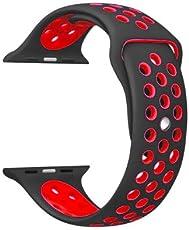 Correa sport para apple watch 42 mm (Negra con rojo)