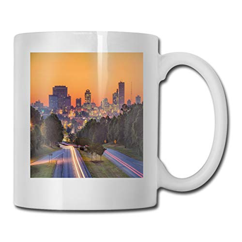 Funny Ceramic Novelty Coffee Mug 11oz,Skyline Of Columbia City South Carolina Main Street Urban Scene,Unisex Who Tea Mugs Coffee Cups,Suitable for Office and Home -