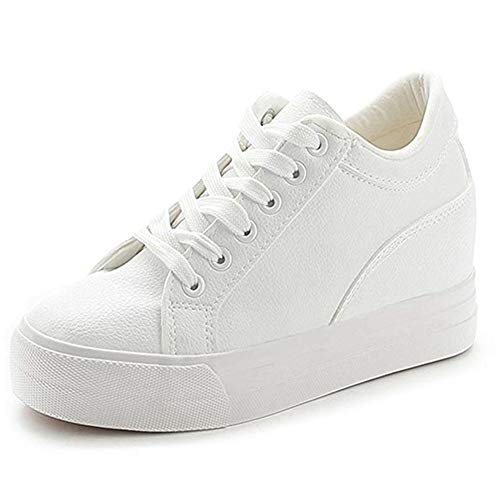 Buganda Women Fashion Leather Sneakers Casual Lace up White Black Flat Shoes High Top Hidden Heel Wedges Platform - Wedge Bow Front