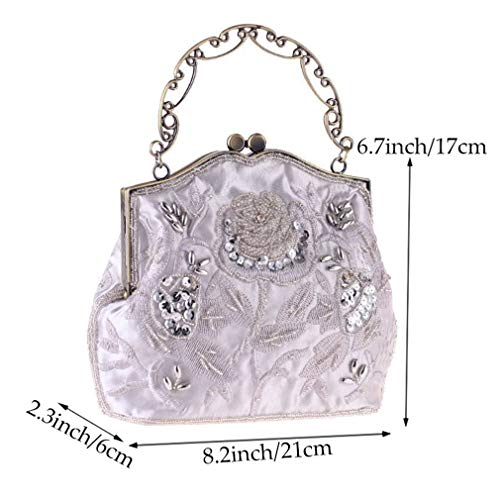 Clutch Embroidery for Style Purse Women's YANXH Party Handbag Roses Vintage Bag Beaded and Gray Sequined Evening Wedding Women Manual 5fTqwH8