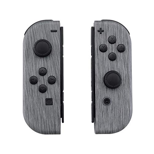 eXtremeRate Soft Touch Grip Brushed Silver Patterned Joycon Handheld Controller Housing with Full Set Buttons, DIY Replacement Shell Case for Nintendo Switch Joy-Con - Console Shell NOT Included