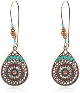 Myhouse Bohemian National Style Hollow Water Drop Shaped Alloy Long Earrings