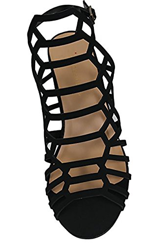 Open Heel MVE City Classified Nb Strap Strappy Shoes Mid Toe Black Ankle Sandal Womens Chunky Cutout EEUwTqxgv