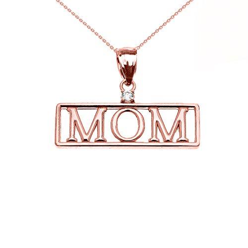 """Collier Femme Pendentif 10 Ct Or Rose """"Mom"""" Oxyde De Zirconium (Livré avec une 45cm Chaîne)"""