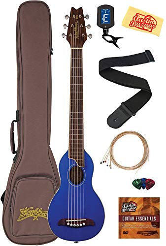 Washburn RO10 Rover Steel String Travel Guitar - Trans Blue Bundle with Gig Bag, Strap, Strings, Tuner, Picks, Austin Bazaar Instructional DVD, and Polishing Cloth ()