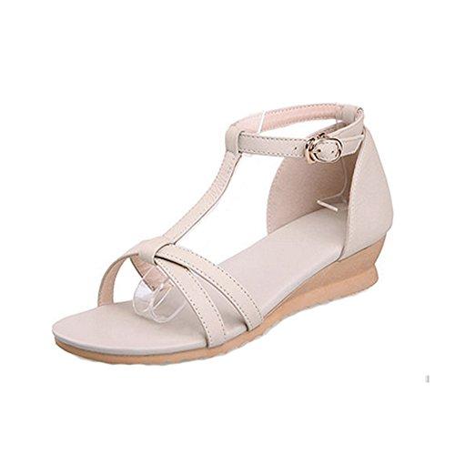 Dayiss® Elegant Damen sommer Schuhe Leder mit Keilabsatz T Straps sandalen Sandalettn (36-Fußlänge230mm, Beige)