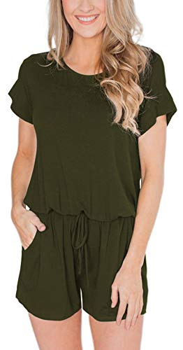 (EasyMy Women's Summer Casual Short Sleeve High Waist Jumpsuits Rompers Ruched Loose Playsuit Army Green)