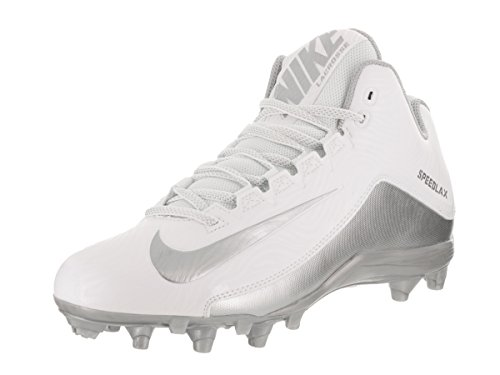 Nike Mens SpeedLax 5 Mens Lacrosse Football Cleat - White/Silver (8.5 D(M) US, White/Mtllc Silver) (White Nike Cleats Football)