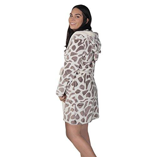 Women's Plush Fleece Short Robe - Robe Giraffe Little