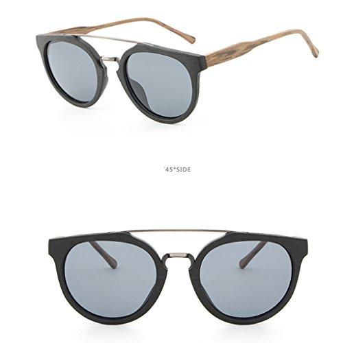 1 Cadre Soleil de noir paire Homyl pour Verres UV400 Bois Protection Polarisées brun Femmes Hommes Lunettes xaT0a4