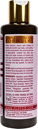 Alaffia - Coconut and Shea Hydrating Shampoo, Moisturizing Support for Smooth, Shiny Healthy Looking Hair with Shea Butter, Coconut Oil, and Lemongrass, Fair Trade, Lavender Coconut 8 Ounces 5 100% FAIR TRADE: Feel good about how you are getting your products with 100% Certified Fair Trade Ingredients. ENRICH YOUR HAIR WITH TRADITIONAL INGREDIENTS: Handmade with our traditional, African Black Soap for gentle, natural cleansing. HYDRATE YOUR CURLS: Virgin coconut oil adds extra hydration, rooibos tea encourages new hair growth and improves overall condition, while pro-vitamin B5 strengthens and repairs. For curly hair.