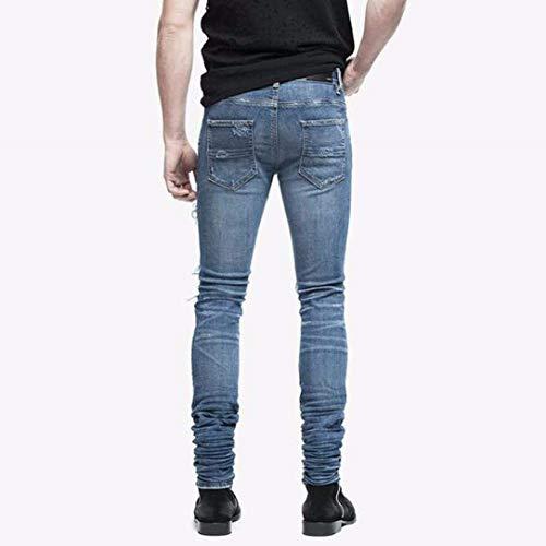 De Fit Mezclilla De Pantalones De Flacos Destruidos Fashion Vaqueros Pantalones Pantalones Hombres Slim Moda Vintage Mezclilla Los Pantalones Blau Strech Ripped Holes UYHzwUOXxq
