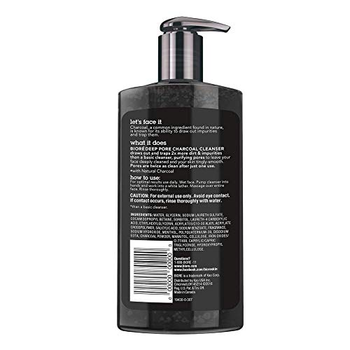 Bioré, Daily Face Wash with Cleansing for Dirt and Makeup Removal From Oily Skin Ounce, Deep Pore Charcoal Cleanser… 2