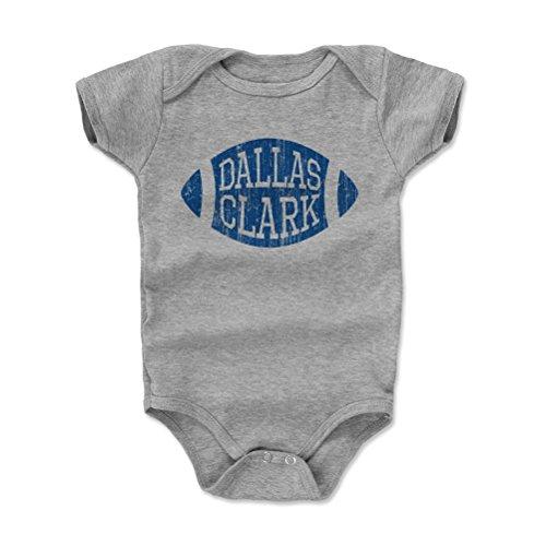 - 500 LEVEL Dallas Clark Baby Clothes, Onesie, Creeper, Bodysuit 6-12 Months Heather Gray - Vintage Indianapolis Football Baby Clothes - Dallas Clark Football B