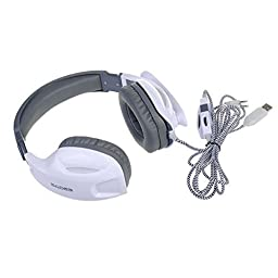 Sades Gaming Headset 3.5mm Wired Stereo Headphone Headband LED Light Over-Ear Noise Cancelling Headphones with Microphone Volume Control for PC Computer (white)