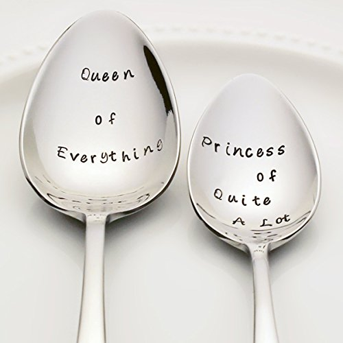 Queen of Everything / Princess of Quite A Lot - Stainless Steel Stamped Spoon Set of 2 | Stamped Silverware | Kitchen Gifts for Mom | Mother and Daughter Valentine Gift Set Holiday Tablespoon