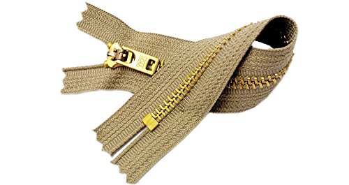 Two 7 Inch Brass Jeans Zipper YKK Number 5 Gold Colored Metal Teeth Zips with Locking Slider Closed Bottom Color Khaki Aztec #896 ()