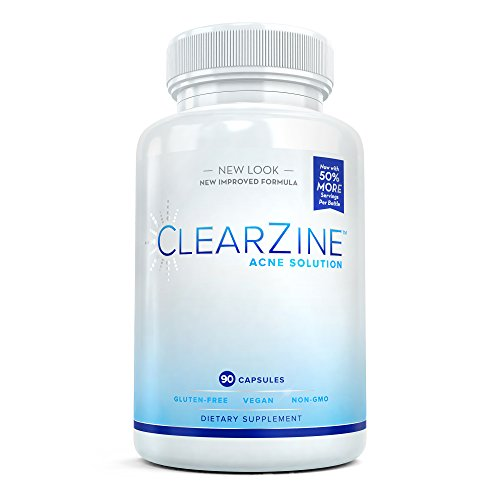ClearZine Acne Solution - The Best Natural Acne Pills for Rapid Acne Treatment and Radiant Skin | Reduce Skin Redness and Prevent Breakouts for Clear Skin with Pantothenic Acid and Zinc, 90 Capsules