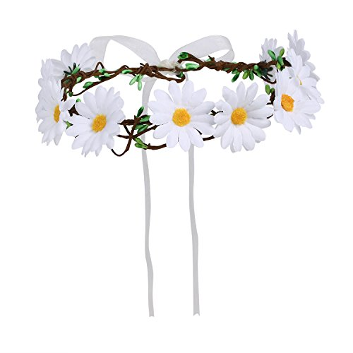 Merroyal Daisy Flower Headband Crown with Adjustable Ribbon for Wedding Festivals (White)