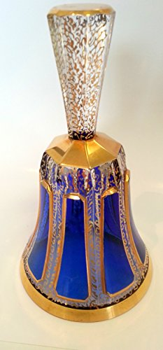 bell-antique-of-glass-precious-craft-bell-blue-hand-cut-24-carat-gold-paint-special-height-approx-13