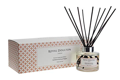 Royal Doulton Luxury Premium Scented Rattan Reed Diffuser - Gardenia & Sichuan Pepper - Glass, Gift Set, Rattan Reed Sticks. Long Lasting Natural Scented (5+ Months) 150 ml / 5. oz