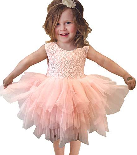 (APRIL GIRL Flower Girl Dress, Lace Dress 3/4 Sleeve Dress (Light Pink Tutu, 2T))