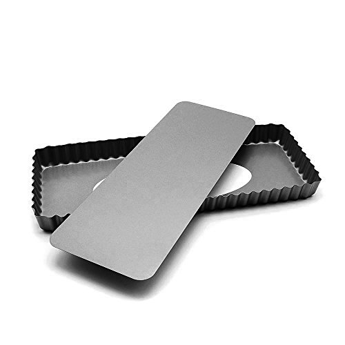 MZCH Non-Stick Removable Loose Bottom Quiche Tart Pan, Tart Pie Pan, Rectangular Tart Quiche Pan with Removable Base, Black