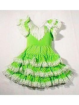 DISBACANAL Vestido sevillana Tres Volantes niña - Único, 2 años