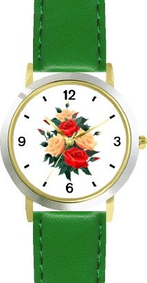 Red & Peach Roses - Rose Flower Bouquet - JP - WATCHBUDDY DELUXE TWO-TONE THEME WATCH - Arabic Numbers - Green Leather Strap-Size-Large ( Men's Size or Jumbo Women's Size ) by WatchBuddy