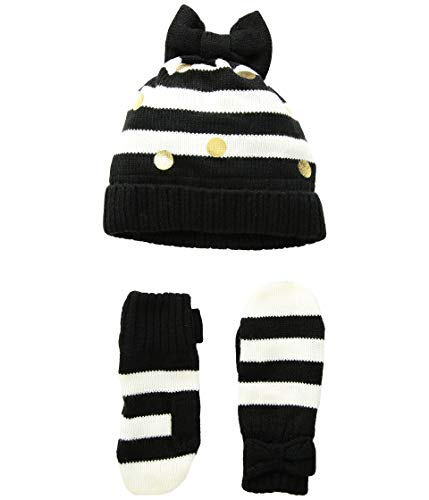 Kate Spade New York Kids Baby Girl's Bow Hat and Mittens Set (Infant/Toddler/Little Kids) French Cream/Black Stripe XS