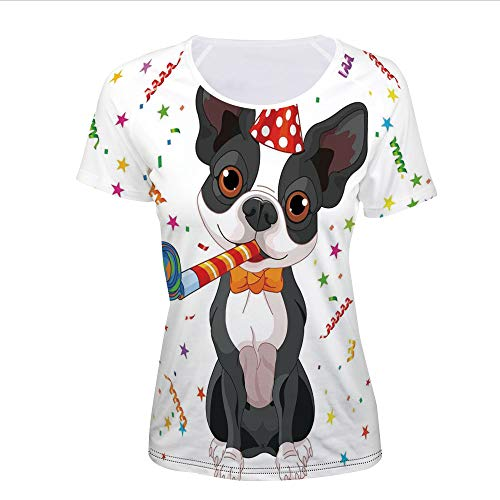 T-Shirt Pictures Print,Black and White Boston Terrier with Colorful Party,Women -
