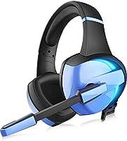 【虹色 LED 】 ゲーミングヘッドセット ps4 ヘッドセット GM-7 LED マイク付き 有線 軽量 通気 高音質 ノイズキャンセリング ゲーミングヘッドホン 重低音強化 騒音 抑制 伸縮可能 3.5mm FPS ゲーム用 PC用...