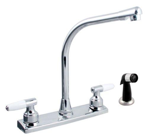 LDR 011 3900 Dual Handle Kitchen Faucet with Hi-Rise Spout and Spray, Chrome (Dual Handle Kitchen)