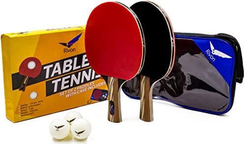 Ping Pong Paddle Set - 2 Table Tennis Racket, 3 Balls and Travel Case - Affordable Pro Performance - Professional Grade Materials 6 Star Quality - Best Power, Precision and Speed - For All Ages by Rivon