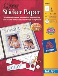Avery Dennison Bulk Buy (2-Pack) Ink Jet Sticker Paper 8.5 inch x 11 inch Matte Clear 3 Pack 532-03