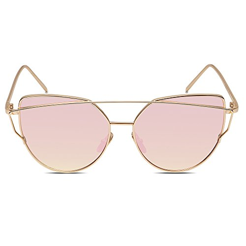 OMIU Women Sunglasses Cat Eye Mirrored Flat Lenses Metal Frame Fashion Sunglasses for Women UV400 - Different Sunglasses Type Of