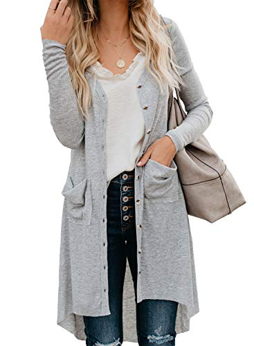 Sidefeel Women Long Sleeve Solid Color Button Down Knit Ribbed Cardigans Outwear Small Light Gray