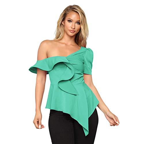 AopnHQ Women's Summer Sexy Short Sleeve T-Shirt Shoulder Ruffle Trim Shirt Top Blouse Mint Green ()