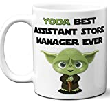 Funny Gift For Assistant Store Manager. Yoda Best Employee Ever. Cute, Star Wars Themed Unique Coffee Mug, Tea Cup Idea for Men, Women, Birthday, Christmas, Coworker.