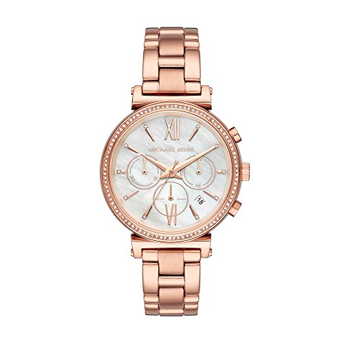 Michael Kors Women's Sofie Quartz Stainless-Steel Strap, Rose Gold, 16 Casual Watch (Model: MK6576)