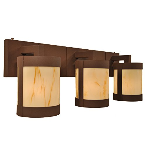 - Steel Partners Lighting 2668-3-MB-BG Vanity - Seattle - 3 Lights with Mountain Brown Finish & Bungalow Green Lens
