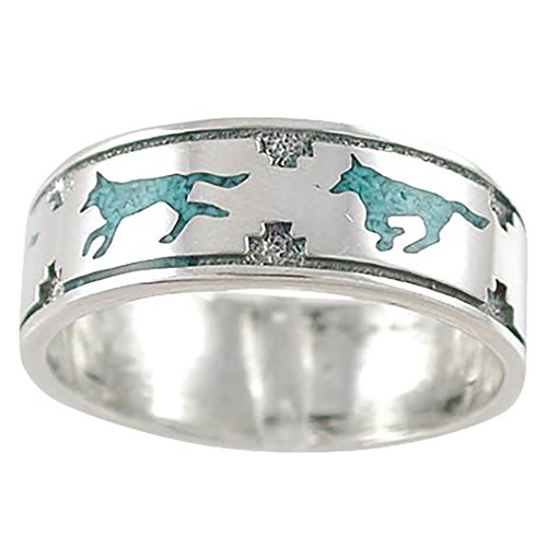 (Luna Gem House Southwestern Running Wolf Band Ring in Sterling Silver with Stabilized Turquoise for Men or Women (9))