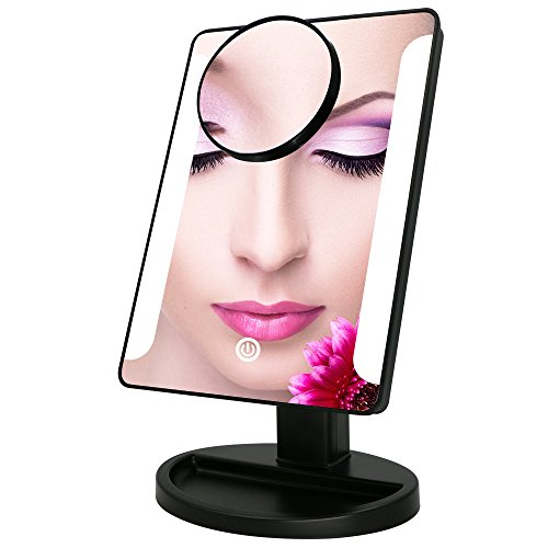 LED Lighted Vanity Makeup Mirror, Bukm Touch Screen 38 LED Bathroom Cosmetic Magnifying Mirrors With Removable 10x Magnification Spot Mirror, Battery Or USB Powered (Black)