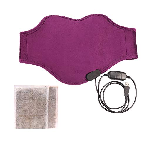 Electric Heating Pad Heated Waist Belt for Soulder Neck and Lower Back Hot Therapies Pain Relief, Women Girls Tummy Belly Keep Warm,Moxibustion hot Compress Muscle Relax (Purple)
